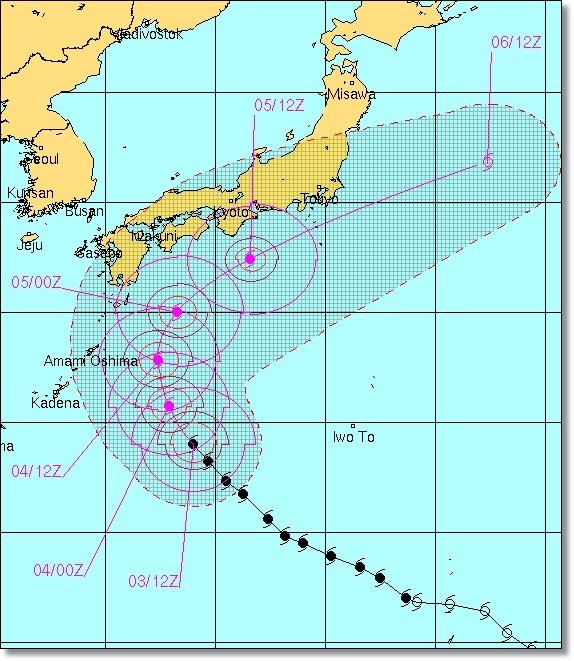 台風18号2014の米軍予想進路!愛知県への影響がヤバい?